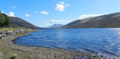 Sgurr a'Ghlas Leathaid (2769ft), near Achnasheen, Highlands of Scotland, August 2016 (allanmaciver) Tags: sgurr aghlas leathaid loch achriosg achnasheen highlands scotland blue sky water clouds low view stones quite dry ripples listen quiet allanmaciver
