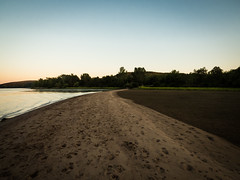 Looking south along the sand bar at low tide (hickamorehackamore) Tags: 2016 ct ctriver canon connecticut connecticutriver haddam haddammeadows fullmoon sandbar statepark summer sunset