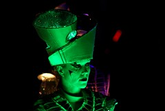IMG_9105 (smiscandlon) Tags: spark drummers sunderland illuminations 2016 launch night drummer costume face paint woman green light colour led shadow portrait street theatre live music musician musicians worldbeaters