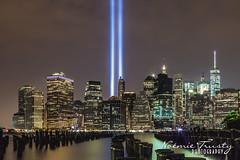 Tribute in light - Downtown Manhattan (Noemie Trusty Photography) Tags: tributeinlight worldtradecenter brooklynbridge downtownmanhattan oneworldtradecenter 911memorial beamoflight