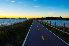 Bike path (E. Aguedo) Tags: sunset bike path lake river green east providence summer
