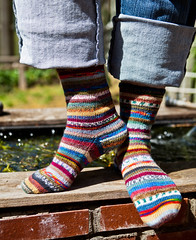 Mismatched 4 x 4 Socks (LollyKnit) Tags: