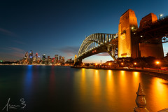 Sydney Harbour Bridge Blue Hour (sachman75) Tags: city longexposure sunset water skyline bridges australia historic nsw newsouthwales bluehour sydneyharbourbridge canon1740mmf4 canon5dmarkii singhrayreversendgrad3stops