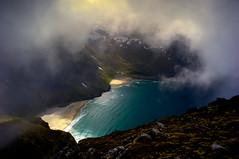 kvalvika og vestervika (steinliland) Tags: sea mist mountains beach fog shore reflexions lofotenislands steinliland 100commentgroup moskenesisland