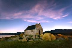 Church of the Good Shepherd sunrise (Luke Tscharke) Tags: pink newzealand clouds sunrise canterbury nz mackenziecountry laketekapo churchofthegoodshepherd