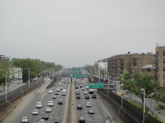 The Cross Bronx Expressway, looking east from the Parkchester 6-train station (quiggyt4) Tags: nyc newyorkcity urban tourism skyline subway highway traffic cloudy bronx harlem parking platform parks transportation transit freeway infrastructure williamsburg mta gothamist interstate expressway exit billclinton streetscape congestion highrises i95 coopcity robertmoses crossbronx ronpaul janejacobs parkchester ows occupy zuccottipark easttremont planetizen greensigns newenglandthruway occupywallstreet