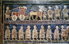 The Standard of Ur, detail with chariot and soldiers (war)