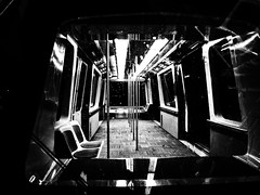 One night, alone on the train. (Dan:Brown) Tags: sf train subway airport aperture nik s90 ttransport