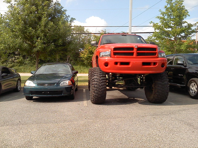 red up truck honda 4x4 dodge civic redneck ram 1500 lifted jacked