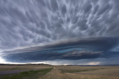 Montana Supercell (antonyspencer) Tags: road usa storm hail landscape highway montana land thunderstorm plains tornado mothership prarie stormchasing greatplains tornadic supercell mamatus