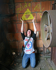 Zelda Bitch (stormdog42) Tags: abandoned pose person indiana machinery zelda gary urbex triforce citymethodist