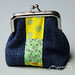 Denim frame purse with patchwork detail