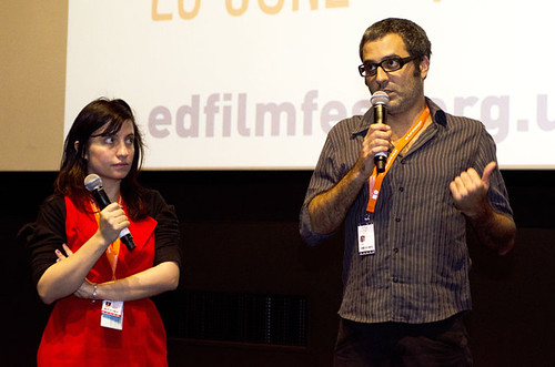 Director Helvécio Marins Jr. and EIFF's Chris Fujiwara at a screening of Girimunho