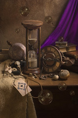 Time (GARY HICKIN (GAZART)) Tags: stilllife dice clock skull globe shell bubbles books playingcard hourglass vanitas aceofspades