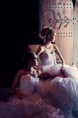 Sisterly (AnnuskA  - AnnA Theodora) Tags: door wedding ladies light castle beautiful women dress models medieval winery brazilian brides lovely gown pure sisterly tule