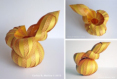 Ochre Vessel - Paper Form (Carlos N. Molina - Paper Art) Tags: sculpture paperart origami craft kirigami vessels papermodels organicforms carlosnmolina paperforms