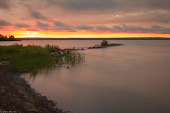 Sunset over Chequamegon Bay (RSBurnsIM) Tags: longexposure sunset usa reflection beach wisconsin clouds canon eos july shore ashland wi lakesuperior goldenhour chequamegonbay canonefs1022