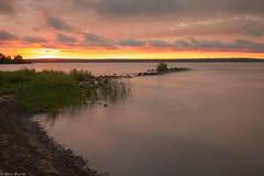 Sunset over Chequamegon Bay (RSBurnsIM) Tags: longexposure sunset usa reflection beach wisconsin clouds canon eos july shore ashland wi lakesuperior goldenhour chequamegonbay canonefs1022