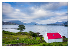 Red Roof Cottage (Maciej - landscape.lu) Tags: old blue trees roof sunset red sea mountain lake mountains color building green water stone wall clouds scotland europe colours unitedkingdom farm cottage salmon vivid highland filter shore nd loch density torridon westerross neutral gradual shieldaig sonydslra900 2470mmf28zassm maciejbmarkiewicz leeholder 57328n5423w
