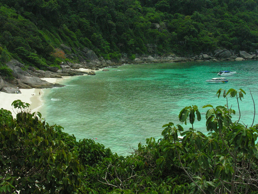 Viewpoint across to the beach, Similan islands, Southern Thailand