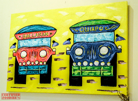 Jeepney to Baclaran and Quiapo - painting inside Cafe Jeepney