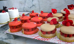 Amazing Raspberry Macarons (Ari Lynn Day) Tags: pink red food art cakes beautiful french restaurant losangeles petals amazing downtown berries feminine cream case gourmet bakery pastry sweets raspberry delicate raspberries framboise macarons macaron framboises bottegalouie
