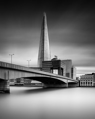 straight up (vulture labs) Tags: longexposure blackandwhitelongexposure daytimelongexposure fineartphotography vulturelabs zeiss 28mm firecrest 16stops shard skyscraper theshard bridge water
