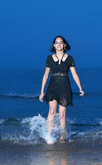 DP1U7994 (c0466art) Tags: beautiful black skirt india girl sonia baisawan seashore beach play water cloudy late afternoon blue tone amazing charming pose action elegant gorgeous outdoor portrait light canon 1dx c0466art