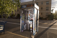 Phone Booth (Curtis Gregory Perry) Tags: portland oregon phone booth telephone payphone pay graffiti vandalism 7th avenue nikon d800e pdx flash rumes jiter teabag