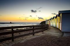 Beach Huts at Bude, Cornwall (Scruddy) Tags: sea sand sky sunset beach hut path fence nikon d810 nikkor 2470