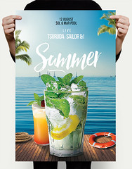 Pool Flyer PSD (DusskDesign) Tags: mojito drinks cocktails pool beach port party summer flyer poster psd template summermenu