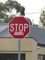 Stop Eating Animals (RS 1990) Tags: adelaide southaustralia friday 19th august 2016 stop sign label wayville goodwoodrd