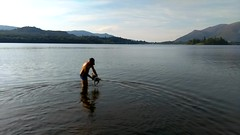 Derwent Water swimming. (Portlandbill) Tags: derwent water swimming dogs cumbria wet splash man swim hunk