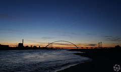 Bridge and beach at Night 2 (PaaulDvD) Tags: nijmegen nimgue holland netherlands landscape paysage night light sunset lumire nuit waal rhin river water