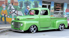 side street (janicelemon793) Tags: truck colourfulscene vintage classic carshow people mural street green