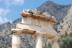 The Delphic Tholos and Parnassus (gilmorem76) Tags: greece travel tourism mountain parnassus delphi delphic tholos greek ruins history architecture