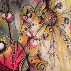 Spider in my Garden (Teresa Fortsch) Tags: abstract outsider mixedmedia teresafortsch