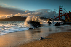 Crashing In (tobyharriman) Tags: ocean sf sanfrancisco california ca longexposure sunset sky seascape color beach northerncalifornia canon landscape photography photographer pics parks wave goldengatebridge lee 7d nd bayarea splash filters hdr crashing neutraldensity impressedbeauty parkpic marshallbeach tobyharriman