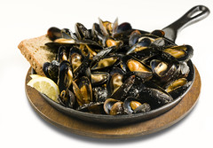 "Skillet Roast Mussels • <a style=""font-size:0.8em;"" href=""http://www.flickr.com/photos/77499577@N07/7139067263/"" target=""_blank"">View on Flickr</a>"