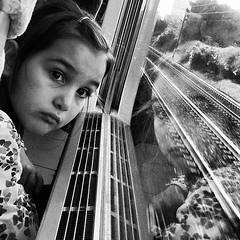 First Travel (Oli Mille) Tags: travel bw paris france reflection window girl train square flickr eurostar railway squareformat inkwell 2012 iphone iphoneography iphonagraphy instagram instagramapp uploaded:by=instagram olimille