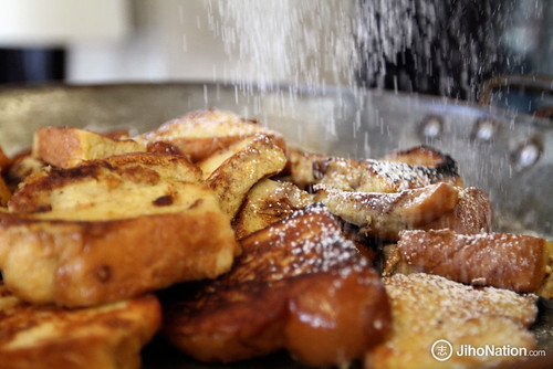 Finishing of Challah Bread French Toast