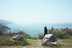 Route 1 (Thomas Hole) Tags: ocean travel sea usa mist girl fog landscape drive rocks view fujifilm route1 sunnys worldtrip x100 thomashole