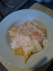 poached eggs on onion/cheese/horseradish mash. Rather yummy