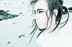 galway-eyes (michele.spence) Tags: winter galway beach strange beauty youth hair crazy eyes sand makeup breeze intrigue
