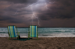 storm (Laurarama) Tags: ocean summer storm beach seaside sand chairs double lightning hc tropicalstorm odc laurarama