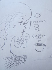 Freedom and Coffee again (Candle_Of_Ice) Tags: color art window mushroom coffee pencil pencils drawing drawings tags health bliss cofee bluberries antioxidants