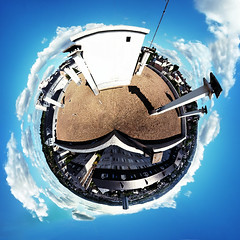 A Little World (52 WEEKS FTW) Tags: blue roof light chimney sky panorama building colors clouds circle town high nikon afternoon shadows floor natural wind little 360 planet mm weeks tamron catchy stitched 52 1024 d300