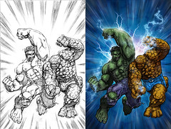 The Hulk vs. The Thing (caffeineandpixels) Tags: photoshop comics disney beforeandafter marvel thething thehulk theincrediblehulk theavengers thefantasticfour