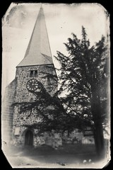 the old church, Fletching (friendlydrag0n) Tags: old bw white black clock film church monochrome vintage mono village country spire faux aged distress distressed