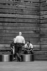 Workers Take a Break at the Wooden Wall (Pauls-Pictures) Tags: street city portrait people urban blackandwhite man men wall work photography three wooden workers break candid working streetphotography australia melbourne tired worker weary streetphotos streetpics streetphotograhy streetpictures trired